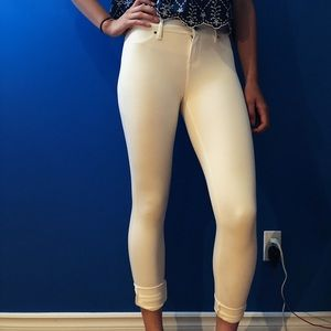 White High Waisted Tight Trousers